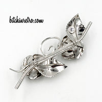 Rolyn R Inc Double Rose Brooch and Earring Set at bitchinretro.com
