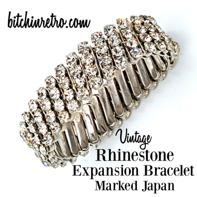 Vintage Rhinestone Expansion Bracelet Marked Japan at bitchinretro.com