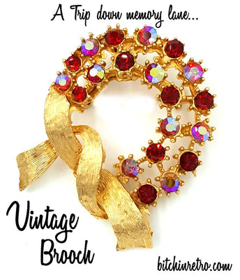 A Trip Down Memory Lane - Vintage Rhinestone Brooch at bitchinretro.com