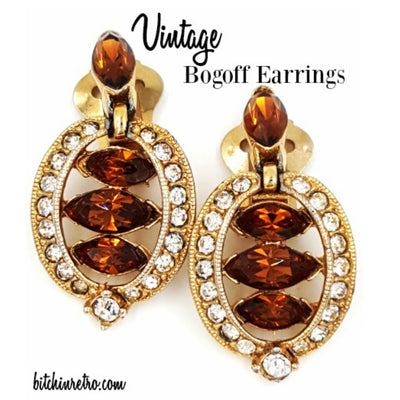 Bogoff Topaz Rhinestone Earrings at bitchinretro.com
