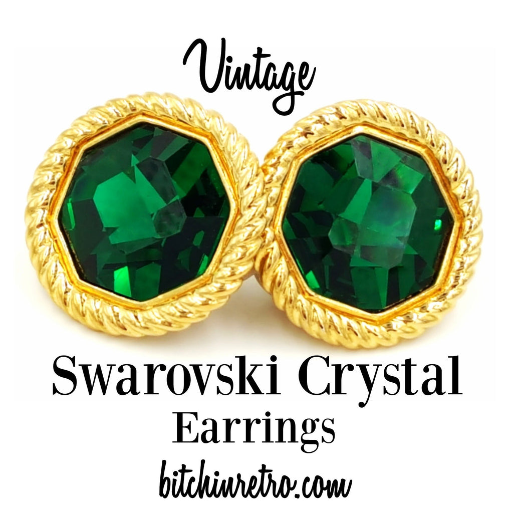 Vintage Swarovski Crystal Earrings at bitchinretro.com