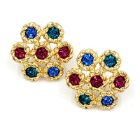 Vintage Swarovski Crystal Jewel Tone Earrings at bitchinretro.com