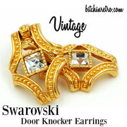 Vintage Swarovski Door Knocker Earrings at bitchinretro.com