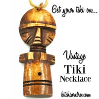 Vintage Tiki Totem Necklace with Wooden Pendant On Snake Chain