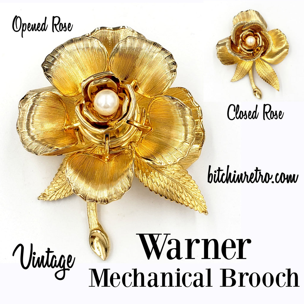 Warner Vintage Day to Night Mechanical Brooch at bitchinretro.com