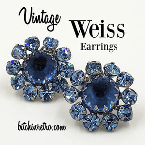 Weiss Vintage Blue Rhinestone Earrings at bitchinretro.com