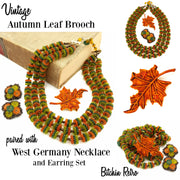 West Germany Beaded Necklace & Earring Set With Fall Leaf Brooch at bitchinretro.com