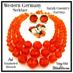 West Germany Vintage Necklace, Enamel Flower Pin and Sarah Coventry Earrings