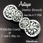Antique Duette Brooch by Wilhelm Goetz For C and G Mfg Co. Circa 1936