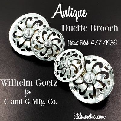 Antique Duette Brooch By Wilhelm Goetz for C and G Mfg at bitchinretro.com