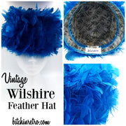 Vintage Wilshire Feather Hat Cobalt Blue Statement Hat Retro Designer Kitschy