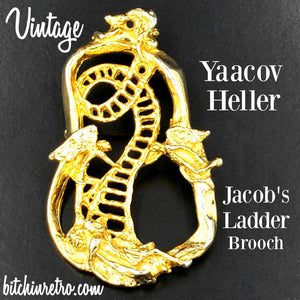 Yaacov Heller Jacob's Ladder Vintage Brooch at bitchinretro.com