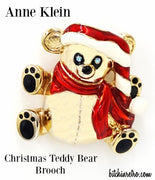 Anne Klein Brooch Christmas Teddy Bear With Baby Blue Rhinestone Eyes Enamel Hat