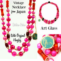 Vintage Art Glass and Lucite Necklace From Japan Retro Mix Of Pinks Red Orange