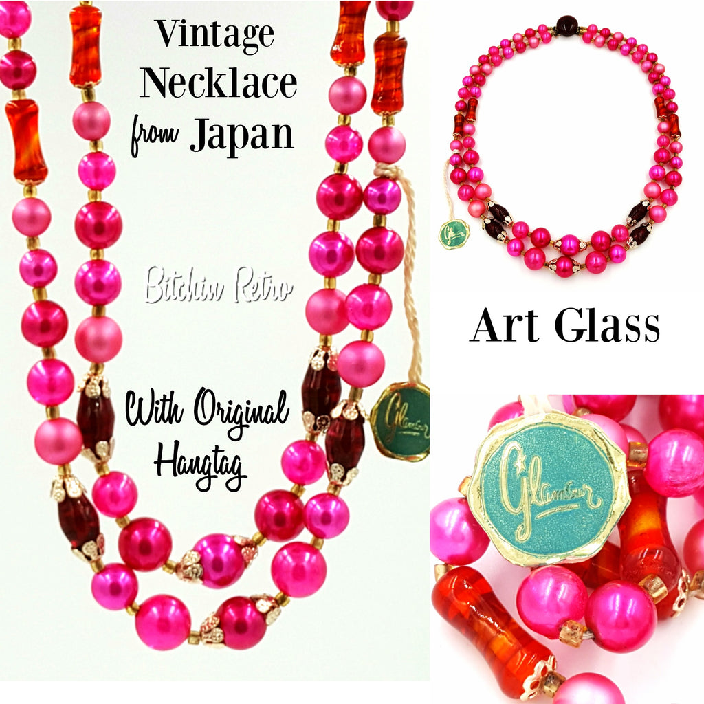 Vintage Japan Art Glass Necklace With Original Tags at bitchinretro.com