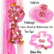 Valjean Vintage Spun Sugar Glass Bead and Rhinestone Necklace Set at bitchinretro.com