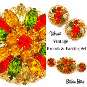 Vintage Rhinestone Brooch and Earring Set  Retro Yellow Orange and Green Flower Pin