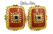 Catherine Stein Vintage Earrings with Southwest meets Romanesque Style