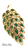 Gerry's Vintage Filigree Leaf Brooch with Green Enameled Inset Leaves