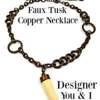 Designer You and I Faux Tusk Copper Necklace at bitchinretro.com