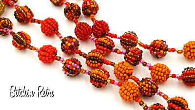 Beaded Ball Necklace in Autumn Colors with Amazing Workmanship