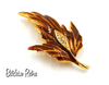 Hedy Vintage Enameled Autumn Leaf Brooch with Rhinestone Inset