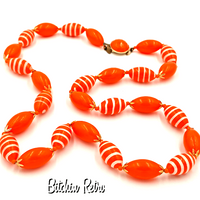 Hong Kong Vintage Orange Hand Painted Necklace at bitchinretro.com