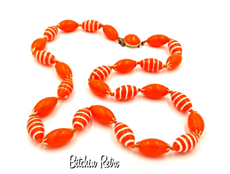 Hong Kong Vintage Necklace with Orange Beads and Painted White Stripes