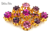 Austrian Crystal Vintage Brooch with Amazing Pink and Purple Crystals