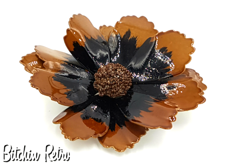 Vintage Enameled Flower Brooch and Mid Century Modern Pin in Fall Hues