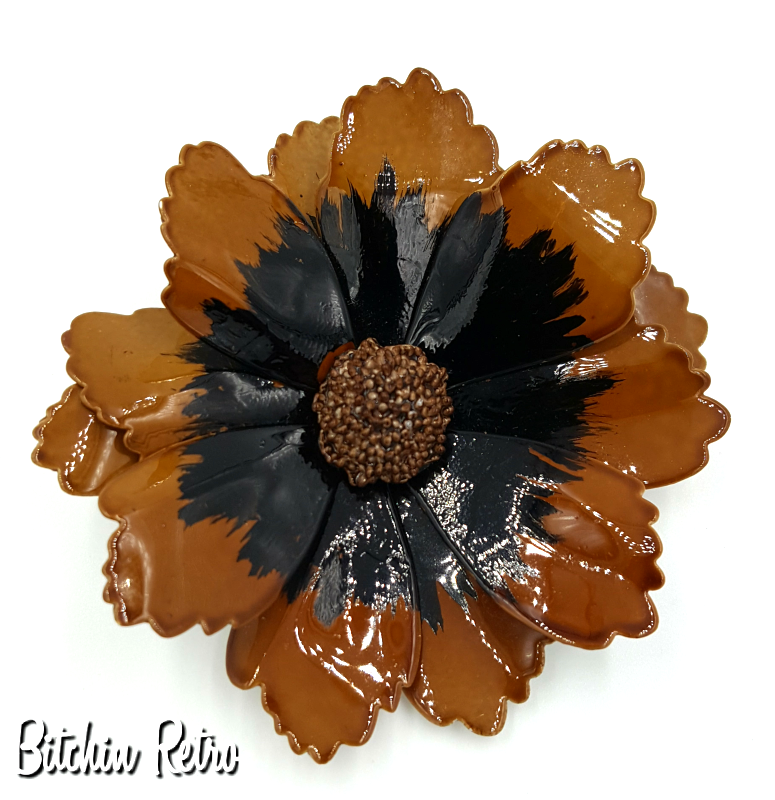 Vintage enameled flower brooch and mid century modern pin in fall vintage enameled flower brooch and mid century modern pin in fall hues mightylinksfo