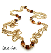 Sarah Coventry Vintage Chain Necklace With Amber RootBeer Barrel Beads