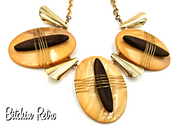 You and I Vintage Necklace with Primitive Tribal Theme and Wood Accents