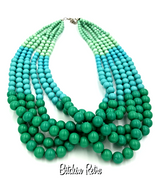 Aqua Blue and Green Necklace Graduated Lucite Beads with Beachy Style