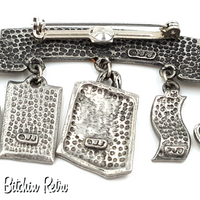 JJ Vintage Born To Shop Pewter Brooch, Perfect Gift for Shoppers and BFFs