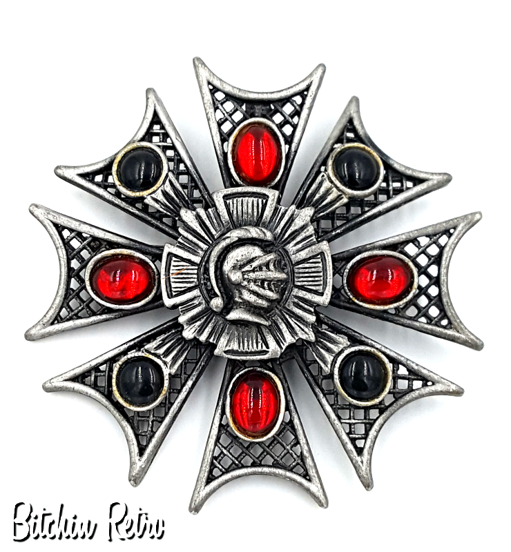 Medieval Style Brooch and Pendant With Center Crest, Black and Red Cabochons