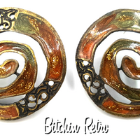 Newpro Vintage Earrings with Enameled Autumn Colors and Boho Style
