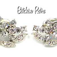 Lisner Rhinestone Floral Earrings - Vintage Jewelry at bitchinretro.com