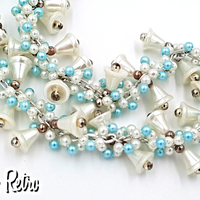 Vintage Wedding Bell Brides Necklace with White and Baby Blue Beads