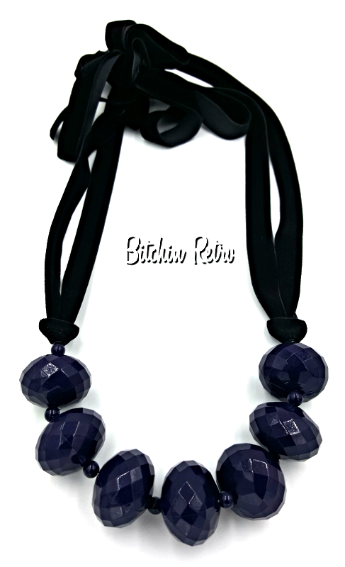 Purple Beaded Necklace on Black Velvet Cord Perfect for Halloween