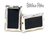 Black and Silver Vintage Rectangle Cuff Links
