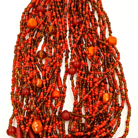 Beaded Vintage Necklace with (20) Brick Red Strands and Art Glass Accents