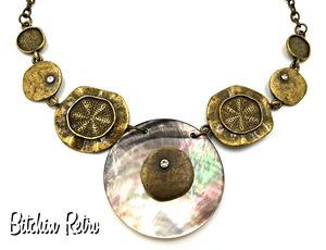 VCLM Beachy Statement Necklace with Rhinestones and Sand Dollars