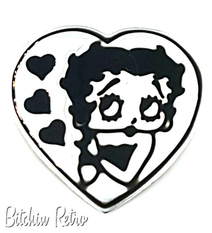 Betty Boop Vintage 925 Sterling Silver & Black Enamel Brooch