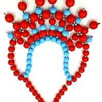 Aqua Blue and Cherry Red Glass Bead Bib Necklace with Statement Power