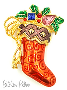 Christopher Radko Christmas Stocking Brooch with Rhinestones and Holly