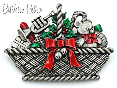 JJ Vintage Christmas Brooch - Basket of Toys Candy Canes and Holly