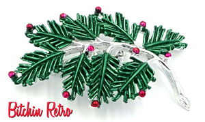 Gerrys Vintage Christmas Pine Bough Brooch with Silver and Red Accents