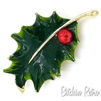 Gerry's Vintage Enameled Holly Leaf Brooch, Retro Christmas Pin