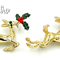 Gerrys Vintage Reindeer Brooch Set with Rudolph and Clarice